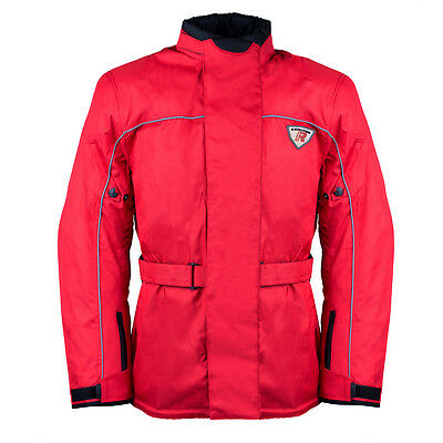 Men's Armoured Waterproof Cordura Textile Red Motorcycle Motorbike Jacket