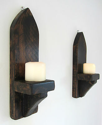 Pair Of 40Cm Rustic Solid Wood Dark Wax Gothic Arch Wall Sconce Candle Holder