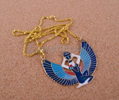 Ethnic Egyptian Hand Made Brass Enameled Winged Isis Necklace