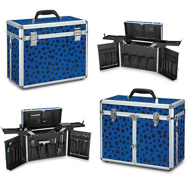 BLUE PAWPRINT GROOMING TOOL CASE - Clipper, Shear, Trimmer Storage for Groomers