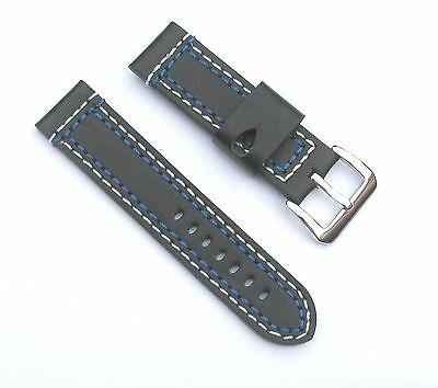 24mm Thick Leather Black Multi-Thread(White & Blue) Watch Band - Size Regular