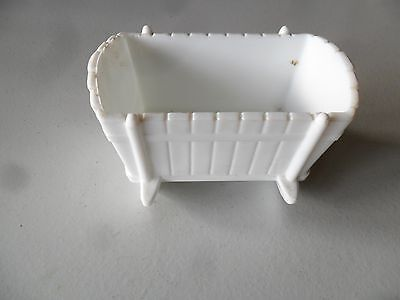 "White Milk Glass Baby Cradle Shaped Planter Candy Dish Vintage 3"" x 5"""