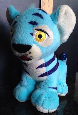 "NEOPET KOUGRA LIGHT BLUE STRIPED SOFT PLUSH 6.5"" BEANIE TOY DOLL FREE SHIPPING"