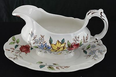 Booths English China, Flowerpiece pattern, gravy boat with attached saucer