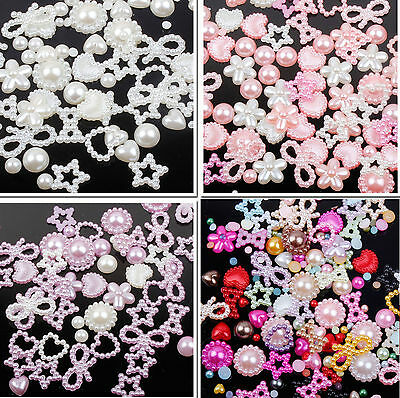 Approx 50 Mixed Cabochons Bow Heart Stars Flat Back Pearls Cute Kawaii Face Gems