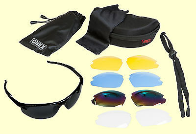 CHEX Ace Hunting Sunglasses Sportsglasses 5 Lens Sets Inc Tinted Yellow & Clear