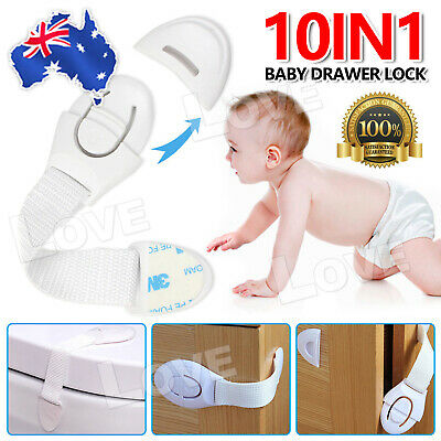 OZ 10x Adhesive For Cupboard Cabinet Door Drawers Child Cute Baby Safety Locks