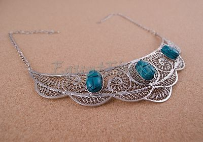 Unique Egyptian Hand Made Filigree Silver Plated Scarabs necklace