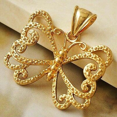 New arrival Womens Yellow Gold Filled Butterfly Flower Pendant  D5286