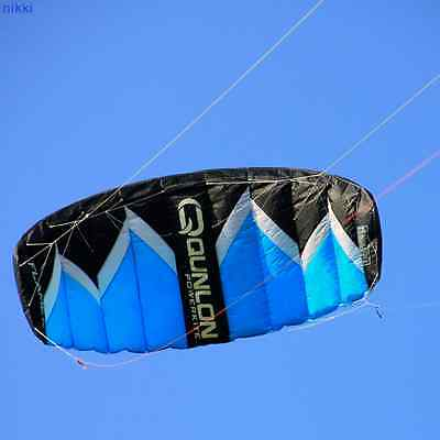 New Quad Line Power Kite 2Sqm Blue with Flying Line and Control Bar Landboarding