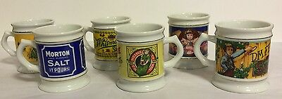 Franklin Mint Corner Store Porcelain Mugs - Lot of 6 - 1982 Vintage