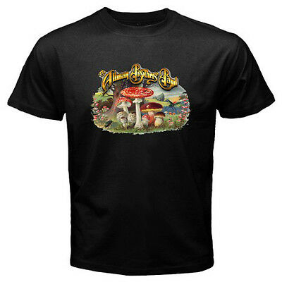 THE ALLMAN BROTHERS BAND Classic Rock Band Logo Men's Black T-Shirt Size S-3XL