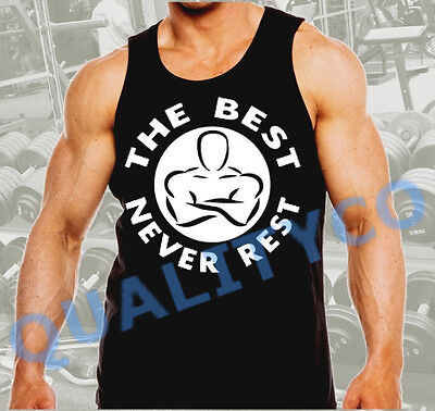 Men's The Best Never Rest Workout Gym Bodybuilding Black Muscle Tank Top Beast