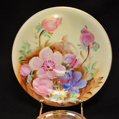 LAMORE Lefton China SAUCER 1946-1950 Hand Painted LARGE PINK & Blue FLOWERS Gold