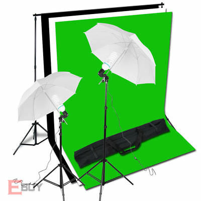 Photography Umbrella Light Video Studio Lighting Backdrop Background Stand Kit