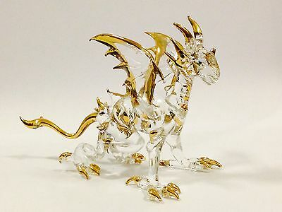Figurine Animal Miniature Hand Blown Glass Dragon.