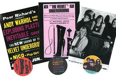VELVET UNDERGROUND  POSTCARDS & STICKERS SET. Lou Reed, John Cale, Andy Warhol.