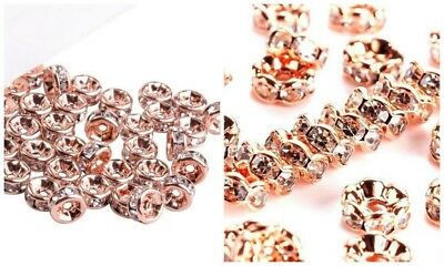 """Superior """"AAA"""" Crystal Rhinestone Spacer Beads - Rose Gold 4mm-8mm - lady-muck1"""