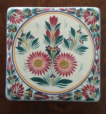 Vintage HB Quimper Flowered Trivet French Faience from 1970