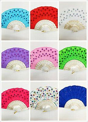 Outdoor Folding Sequins Hand fan with gift bag for wedding/party  (USA seller)