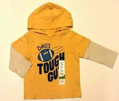 """NWT Jumping Beans """"Dad's Tough Guy"""" Hooded Double-Sleeve Screen Print Tee/Shirt"""