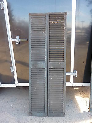 """PaiR victorian louvered house window SHUTTERS crackled PAINT SURFACE 74"""" x 13"""""""