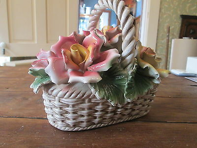 GEORGEOUS--LARGE  BASKET OF FLOWERS--CAPODIMONTE--MADE IN ITALY