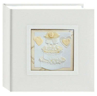 """3D Wedding Album 100 Pocket up to 4""""x6""""Fabric Cover Memo Writing Area Gift New"""