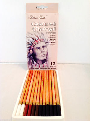 12 Pc Coloured Charcoal Pencils Sketch Artist Drawing Sketching Charcoal Shading