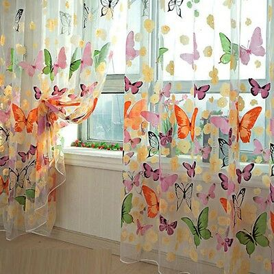 1x 204 X 95cm Floral Butterfly Sheer Curtains Sheers Voile Tulle Window Curtain