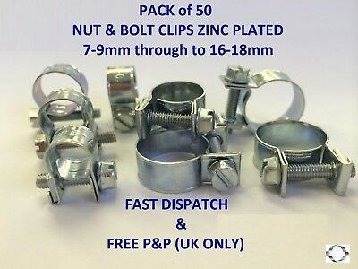 NUT & BOLT CLIPS/CLAMPS W1 PK of 50 (MINI CLIPS,FUEL PIPE CLIPS)7-9mm to 16-18mm