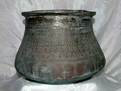 MIDDLE EASTERN ANTIQUE COPPER BOWL PRIMITIVE ENGRAVED ISLAMIC ART CRAFT 5.3lbs