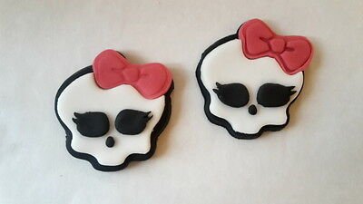 6 Edible Sugarpaste Monster High Skull Birthday Cake/Cupcake Toppers decorations
