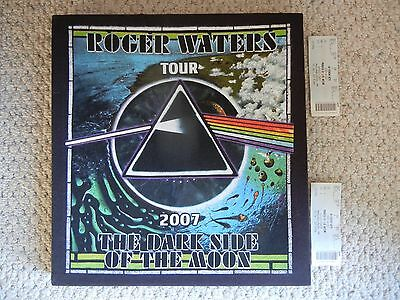 """Roger Waters """"Dark Side of the Moon""""  2007 Tour Ticket Stubs (2) & Wall Hanging"""