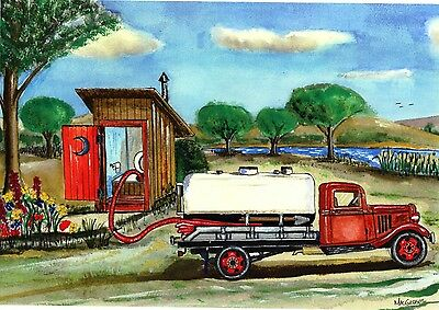 Outhouse Pumper Septic Truck Personalized Art Print Plumber Toilet Mack #2 decor