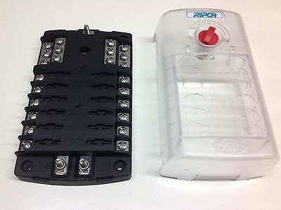 12-Way Standard Blade Fuse box with twin positive bus bars + negative bus bar