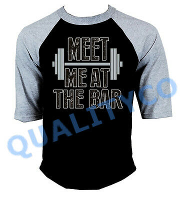 Meet Me At The Bar Workout Tee Lifting Funny Mens Gym Cut Off T-Shirts
