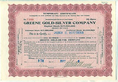 Greene Gold-Silver Company Stock Certificate Mining West Virginia