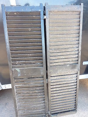 "PaiR antique victorian louvered house window SHUTTERS black 57.75"" high & 17"" w"