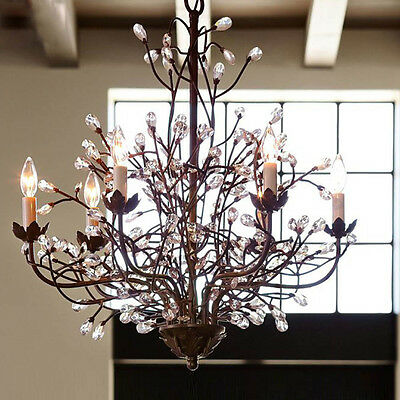 Vintage Iron Art Chandelier 6 Arm Chic Ceiling Lamp Lighting Lights Crystal Gift