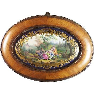 ANTIQUE FRENCH SEVRES PORCELAIN PLAQUE PANEL ROSEWOOD FRAME FINELY PAINTED SCENE