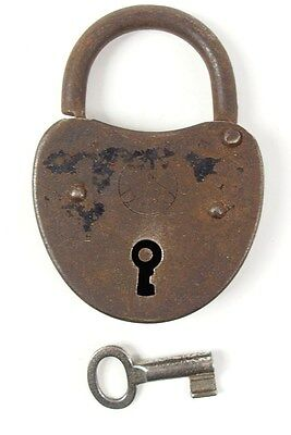 Vintage Iron Padlock *working Key* German Antique - # 11