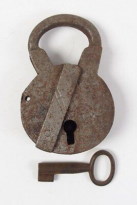 Vintage Iron Padlock *working Key* German Antique - # 9