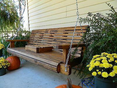 5ft Handmade Southern Style Round Faced Wood Porch Swing Patio Swing Yard Swing