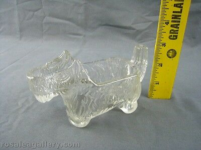 1930's Art Deco Scottie Dog Clear Depression Glass Creamer-Chipped & Repaired