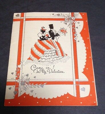 Vintage Valentine Greeting Card Silouette Couple