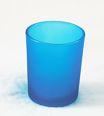 Turquoise Aqua Frosted Glass Tealight Votive Candle Holder Bomboniere BY QTY RQd