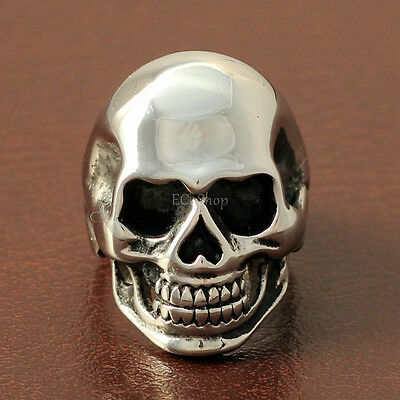 Men's Wide Gothic Solid Biker Skull Ring Polished Silver Tone Stainless Steel