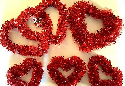 LOT OF 3 Valentine's Day red tinsel heart wreath 12 inch