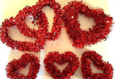 Valentine's Day red tinsel heart wreath 12 inch